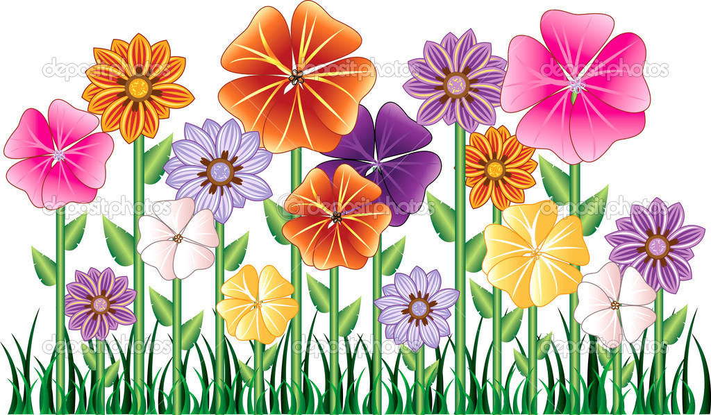 Cartoon Flowers Clip Art.