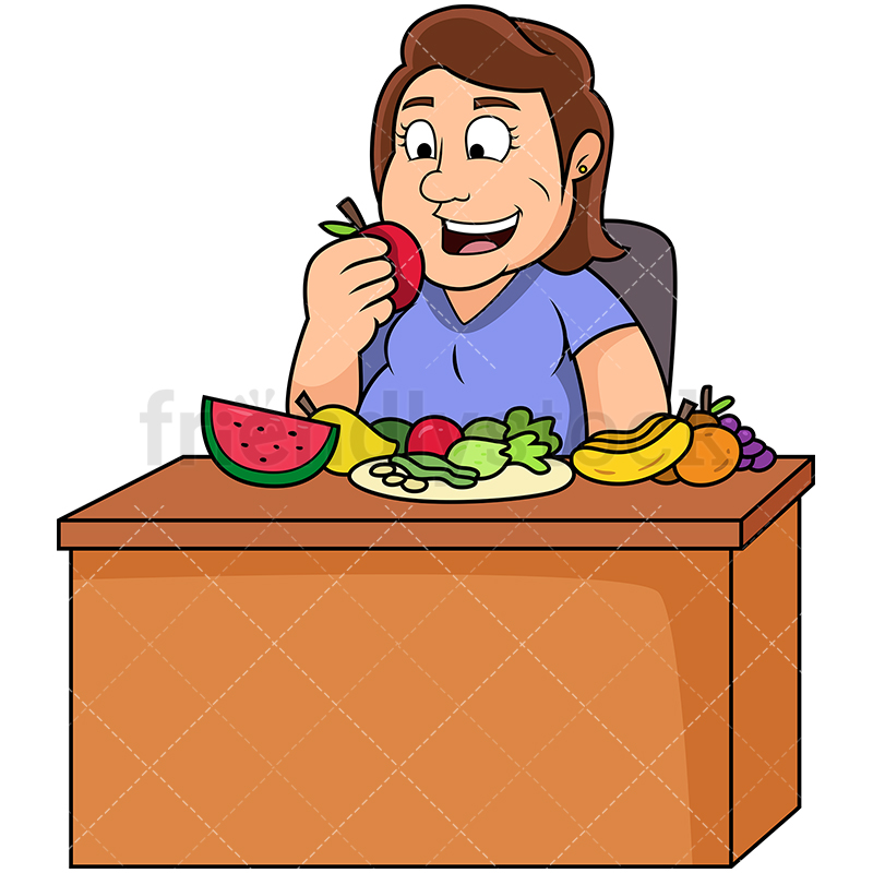 Fat Woman Eating Fruits And Vegetables.