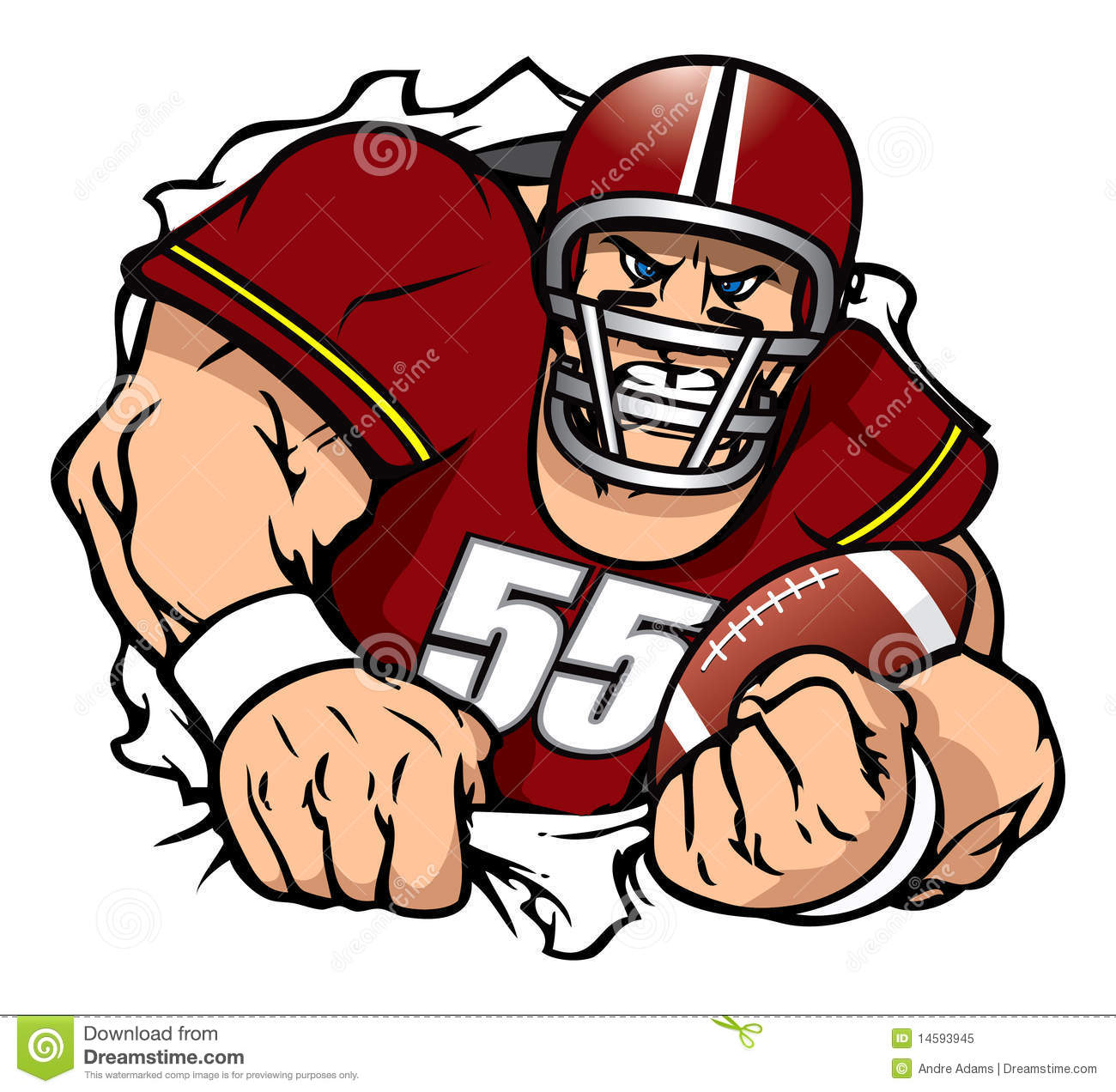 Cartoon football player clipart.