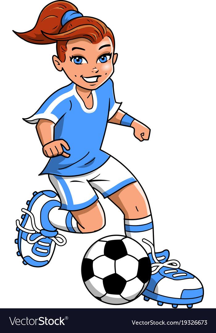 Soccer football girl player clipart cartoon.