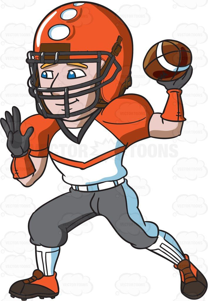 A football quarterback eyeing on a receiver for touchdown #cartoon.