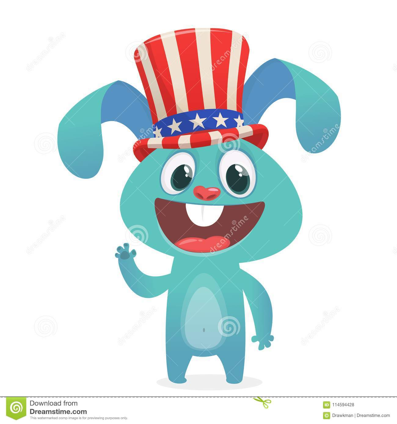 Happy Fourth Of July. Independence Day Of America. Cartoon Rabbit.