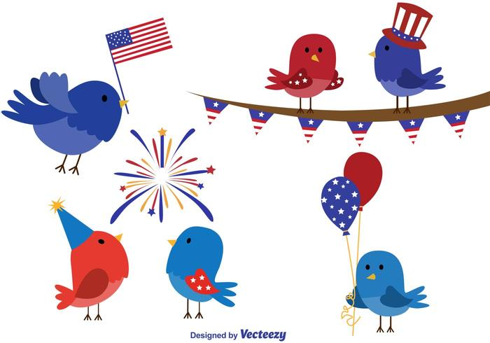 4th of July Bird Cartoon Vector.