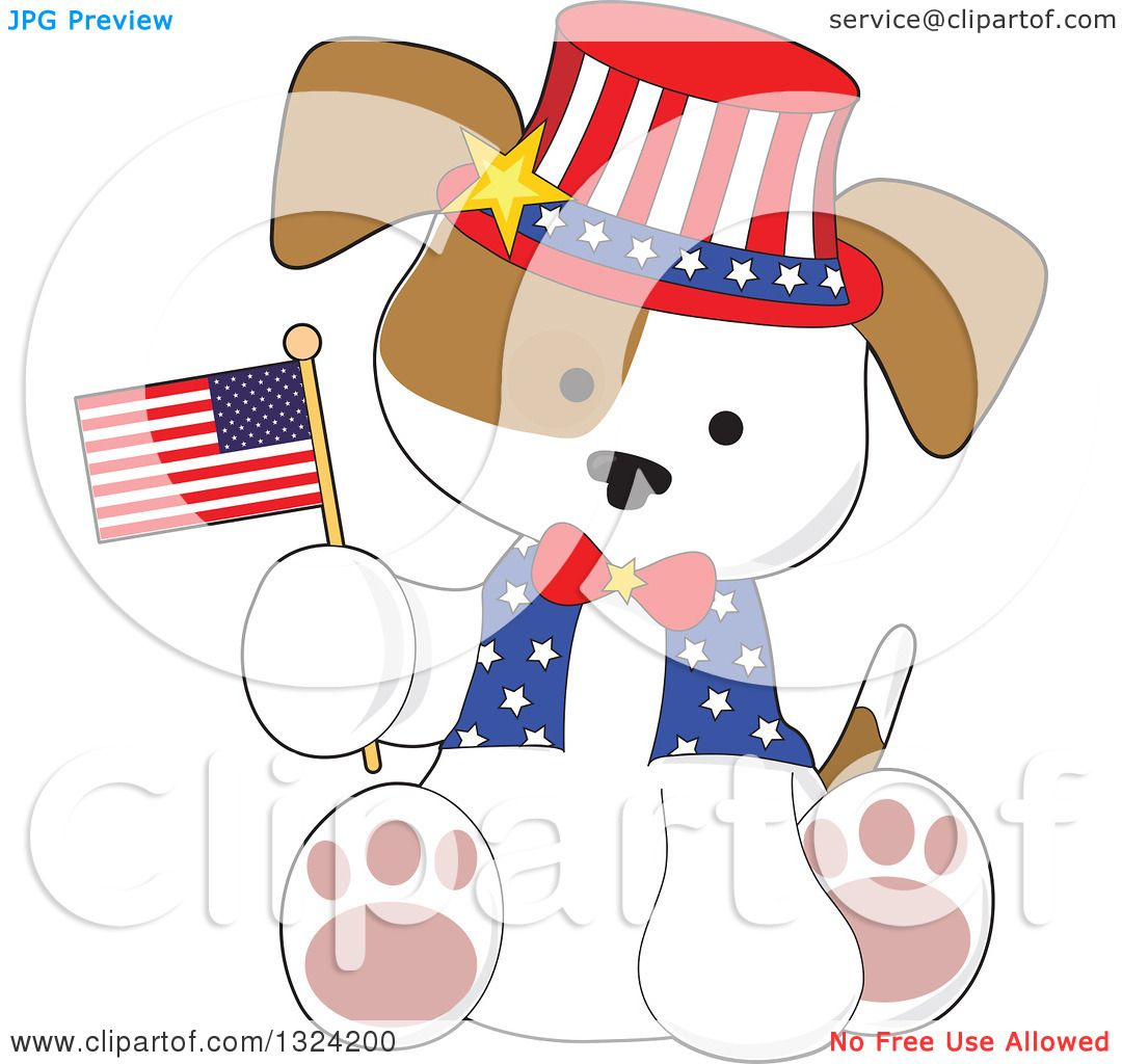 Clipart of a Cartoon Cute Patriotic Fourth of July Puppy Dog Sitting.