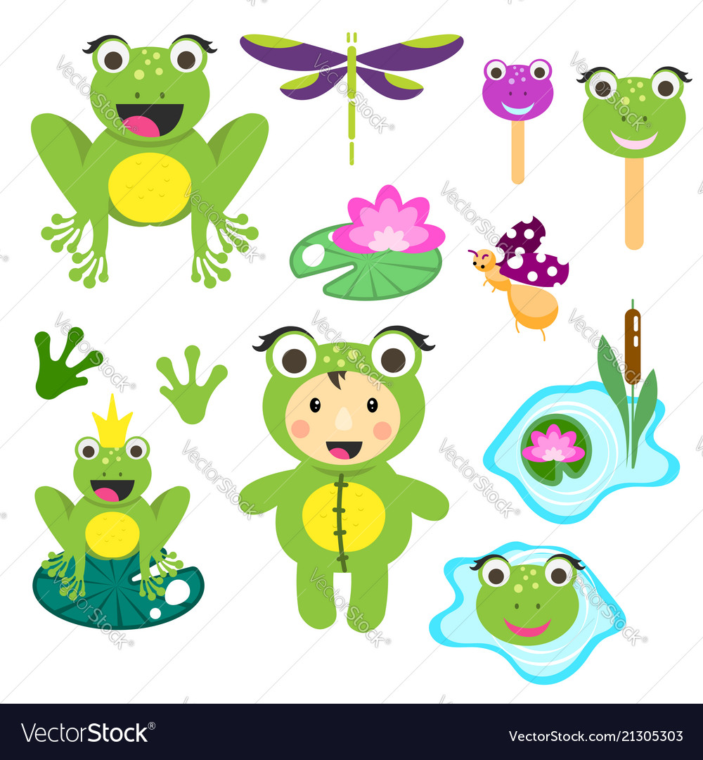 Cute cartoon frog clipart set funny frogs.