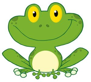 Free Frog Clip Art Image: Cute Green Cartoon Frog with Big Smile.
