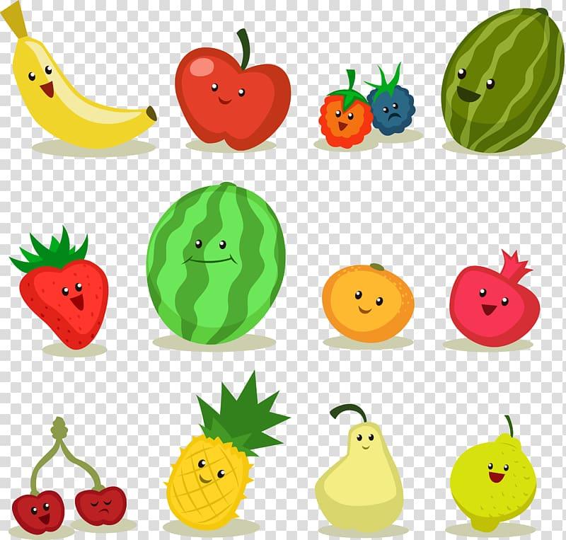 Assorted fruits illustration, Fruit Apple Cartoon, Cartoon.