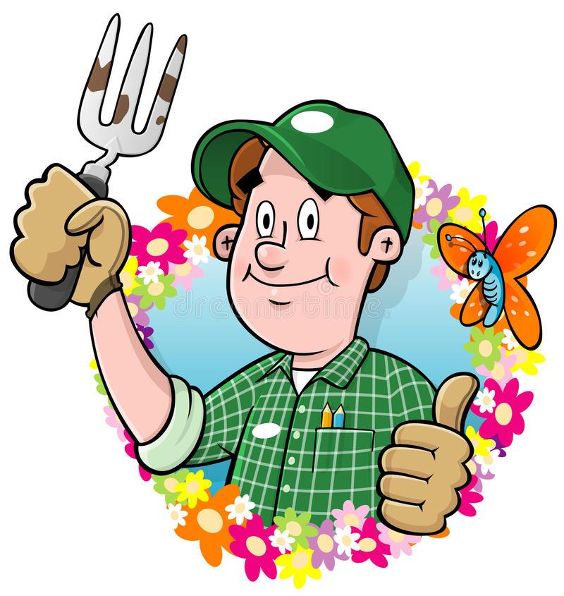 Cartoon Gardener Stock Illustrations.