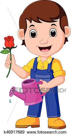 Cartoon gardener with watering can Clip Art.