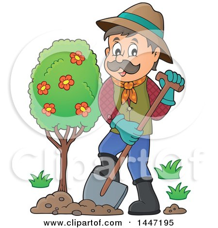 Clipart of a Cartoon Caucasian Male Gardener Planting a Tree.