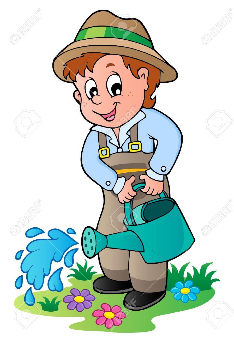 Cartoon gardener with watering can.