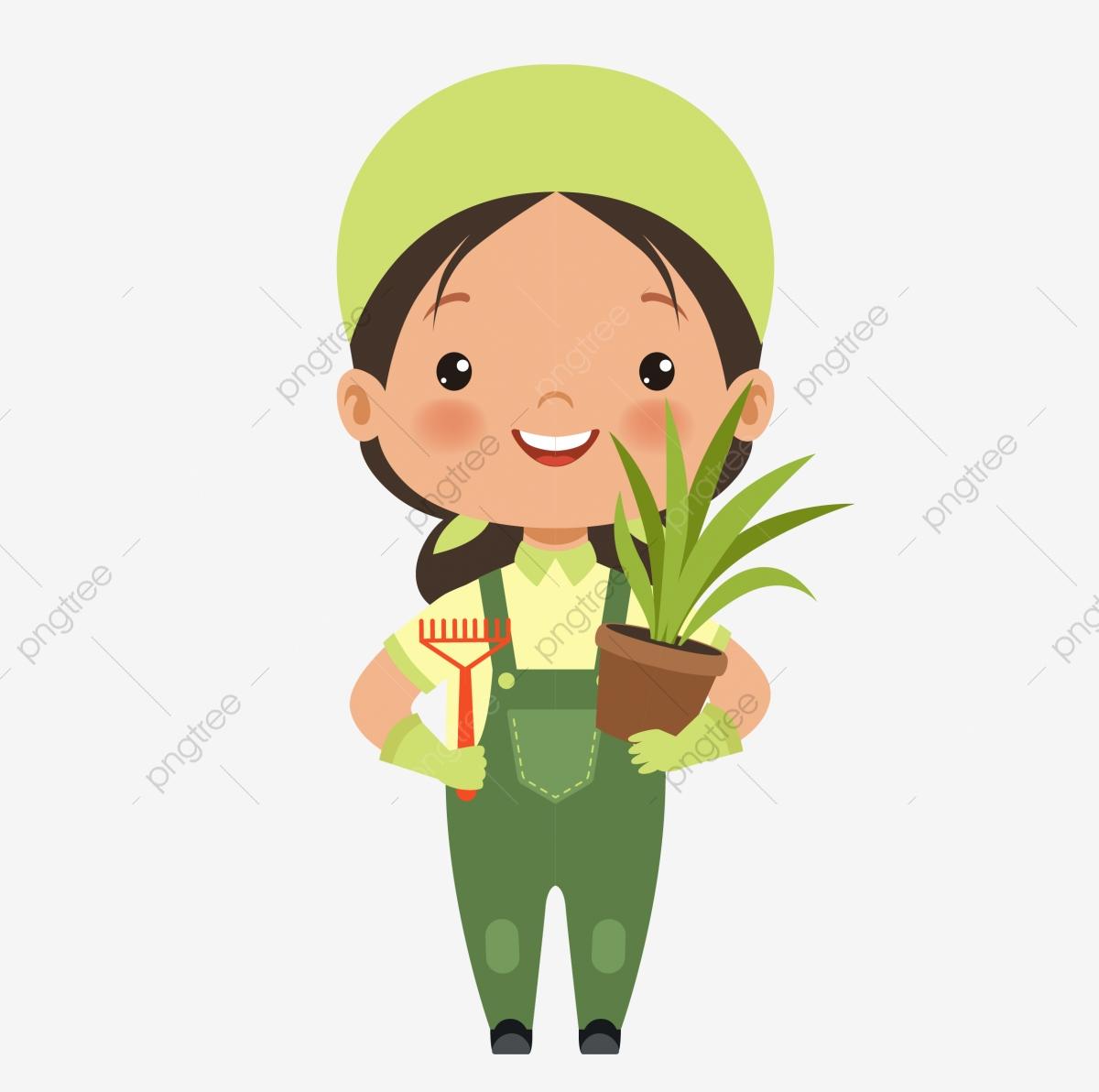 Flower Farmer Gardener Weeding Raising Flowers, Cartoon Gardener.
