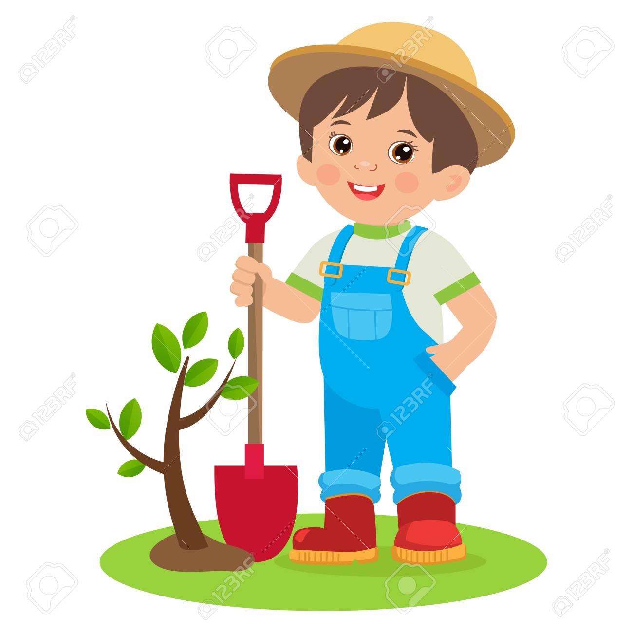 Spring Gardening. Growing Young Gardener. Cute Cartoon Boy With...
