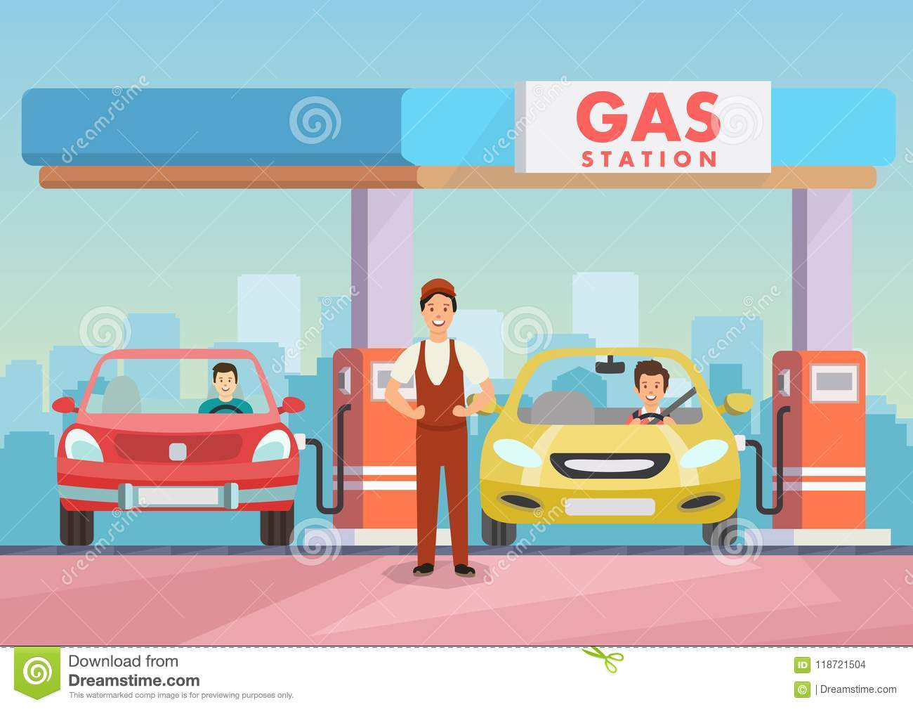 Cartoon Image Gas Station Worker Refilling Cars Stock Vector.