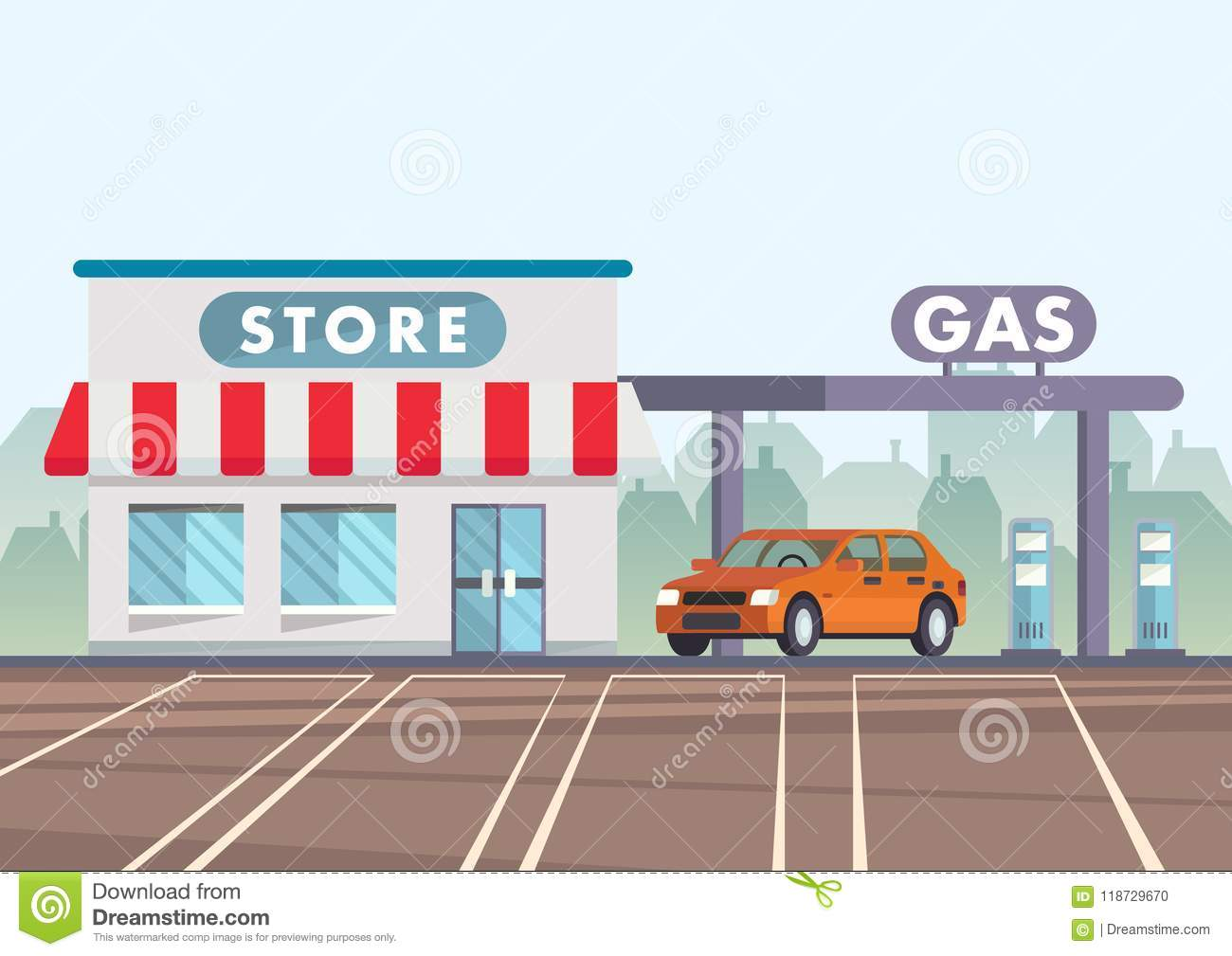 Cartoon Illustration Car Is At Gas Station Stock Vector.