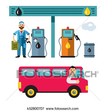 Vector Gas Station. Flat style colorful Cartoon illustration. Clip Art.