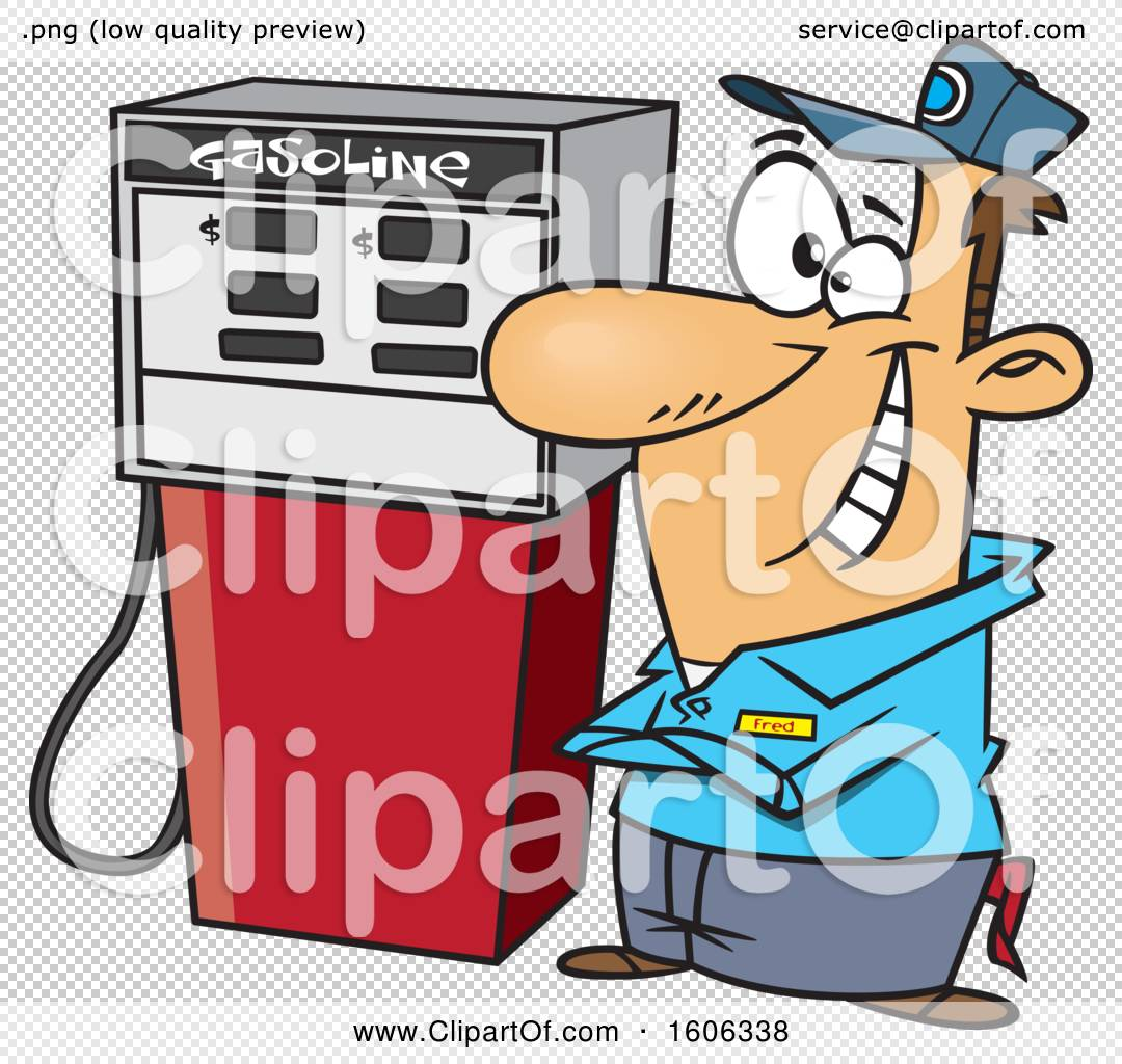 Clipart of a Cartoon Happy White Male Gas Station Pump Attendant.