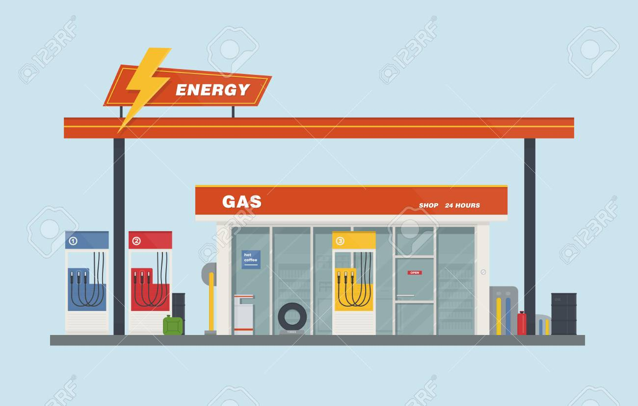 Gas station cartoon flat vector illustration..