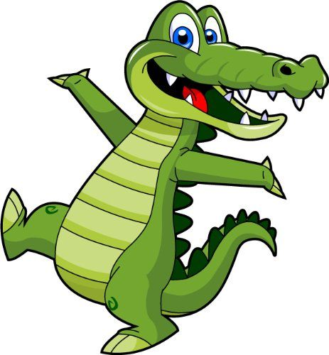 Cartoon alligator clip art cute alligator mascot.