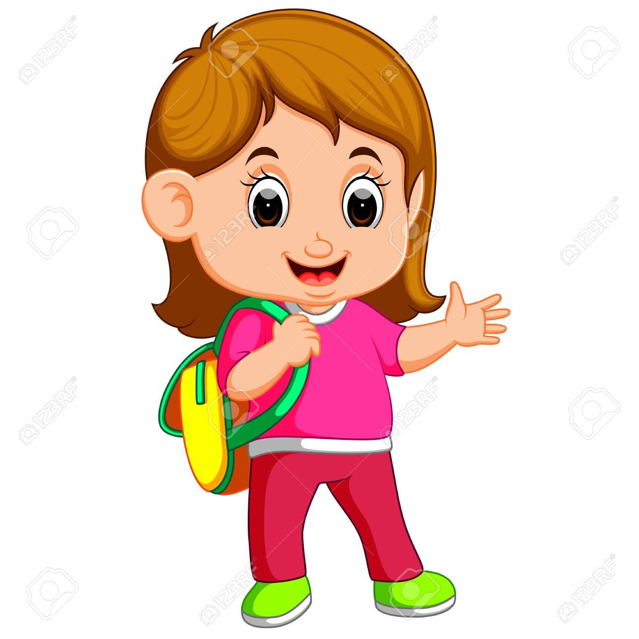 School girl cartoon walking.