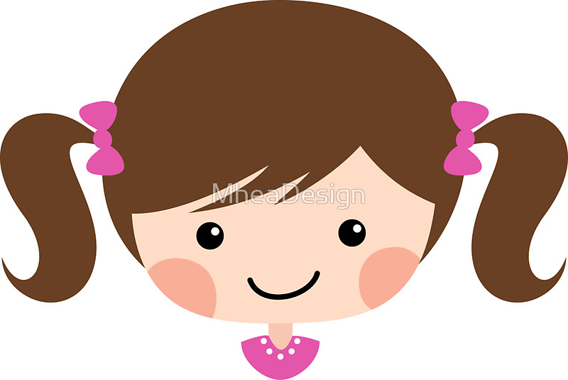 Cute cartoon girl with brown hair in pigtails sticker stickers by.