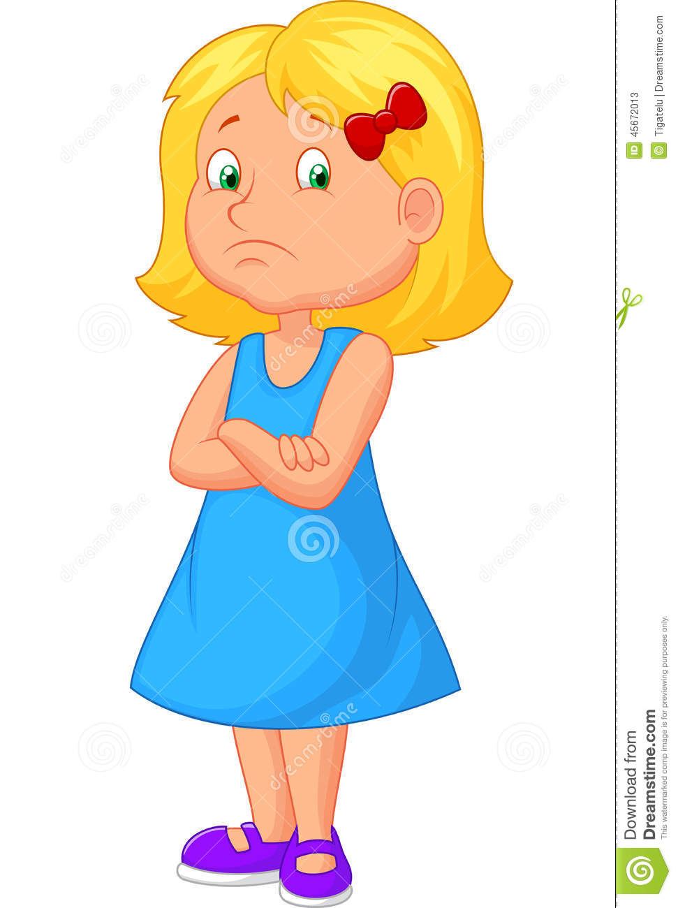 Angry girl cartoon stock vector. Illustration of child.