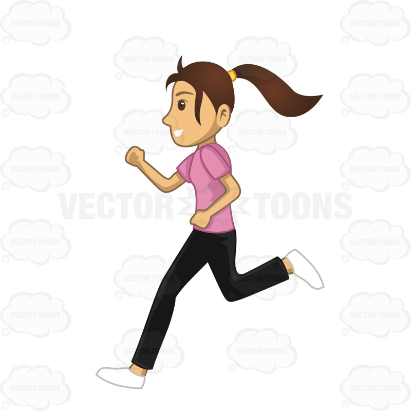 Woman Running To Workout Cartoon Clipart.