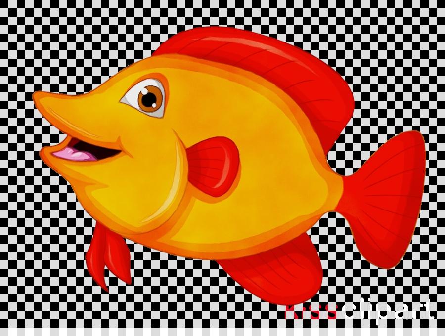 fish fish yellow cartoon goldfish clipart.