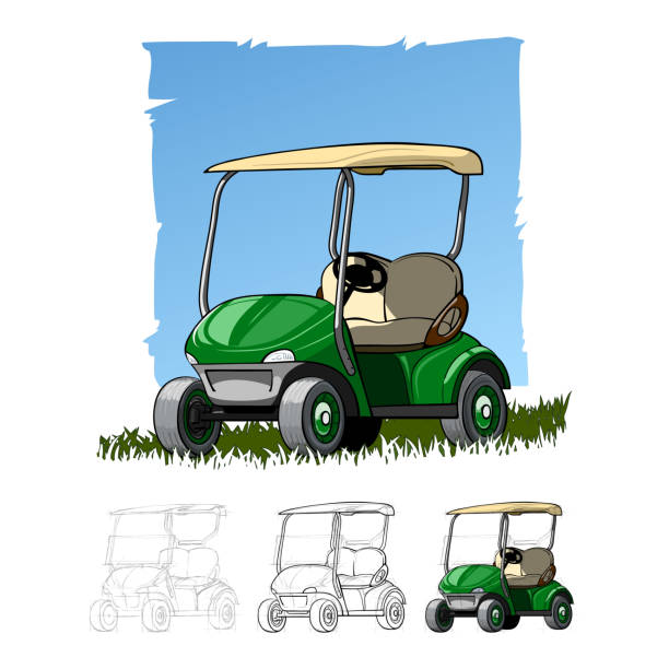 Best Cartoon Of A Golf Cart Illustrations, Royalty.
