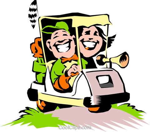 Golf Vector Clipart of a Couple in a Cartoon golf cart.