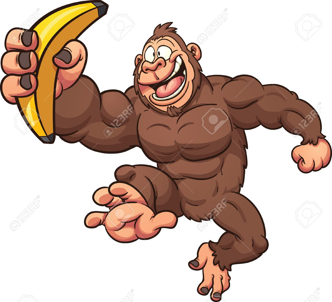 Cartoon gorilla with banana. Vector clip art illustration with...