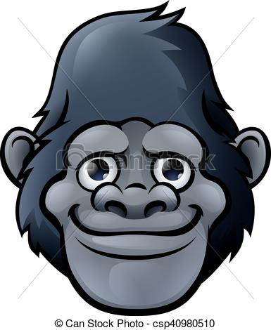 Cartoon Cute Gorilla Face.
