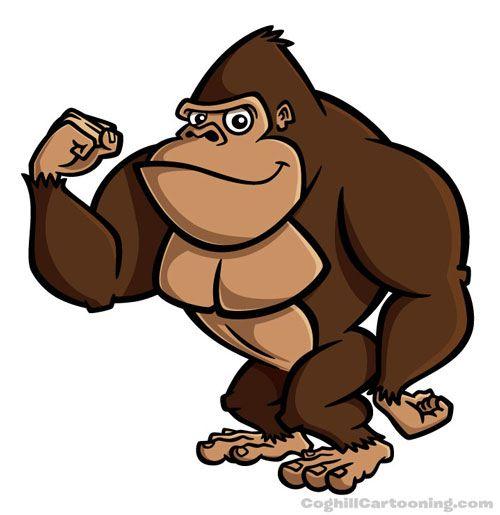 Cartoon character illustration of a gorilla.