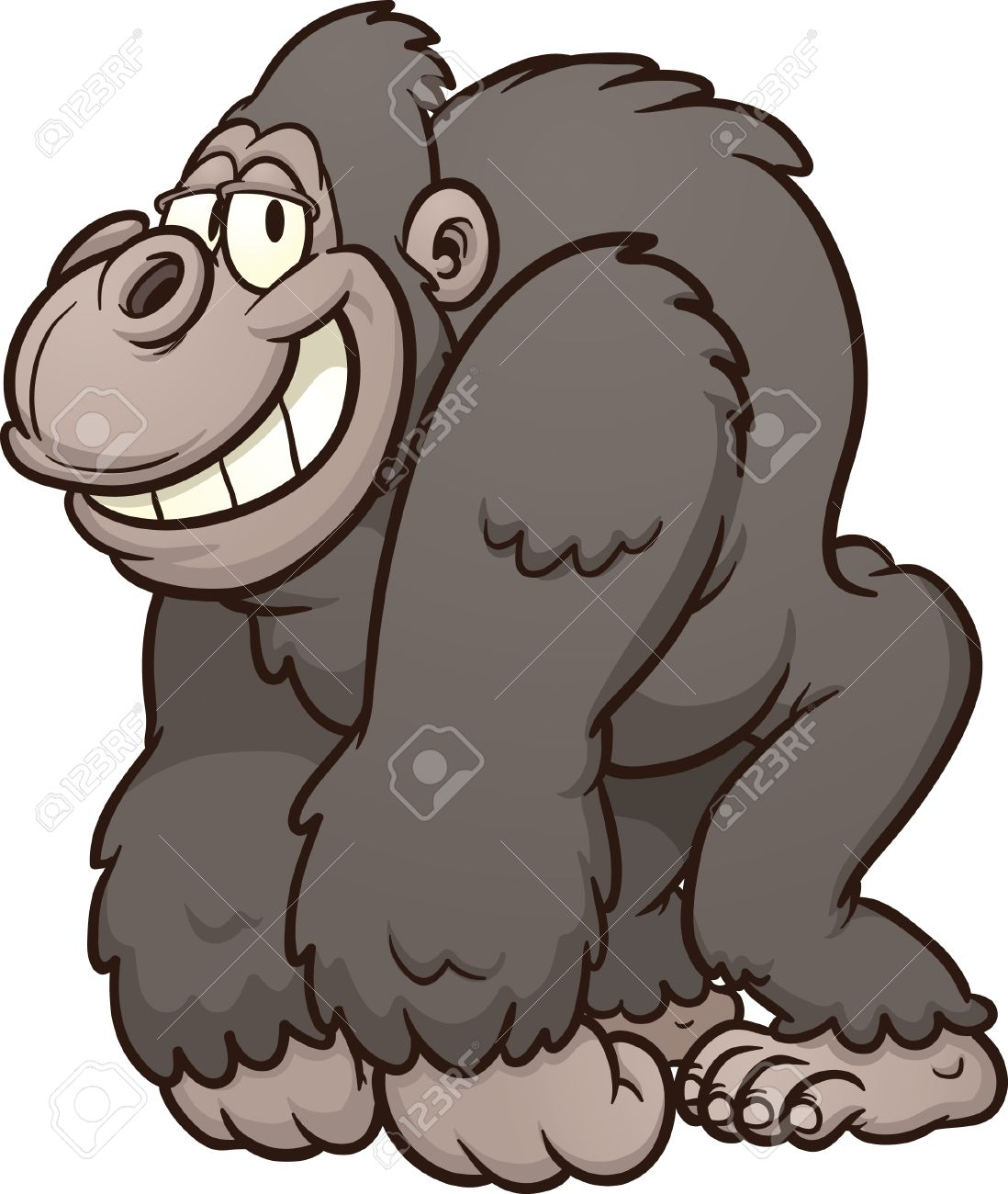 Strong cartoon gorilla Vector clip art illustration with simple...