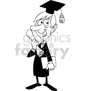 black and white cartoon guy graduating clipart. Royalty.
