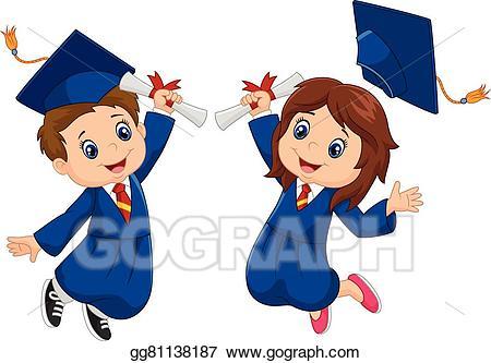 Vector Stock Cartoon Graduation Celebration Clipart Illustration.