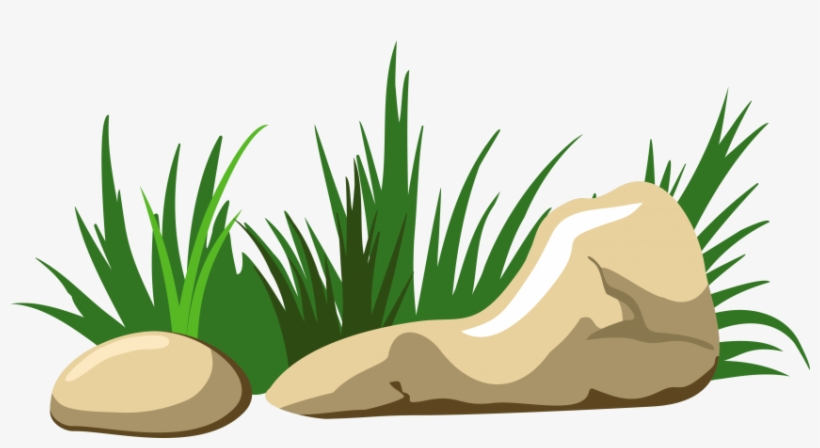 Rock Clipart Grass Patch.