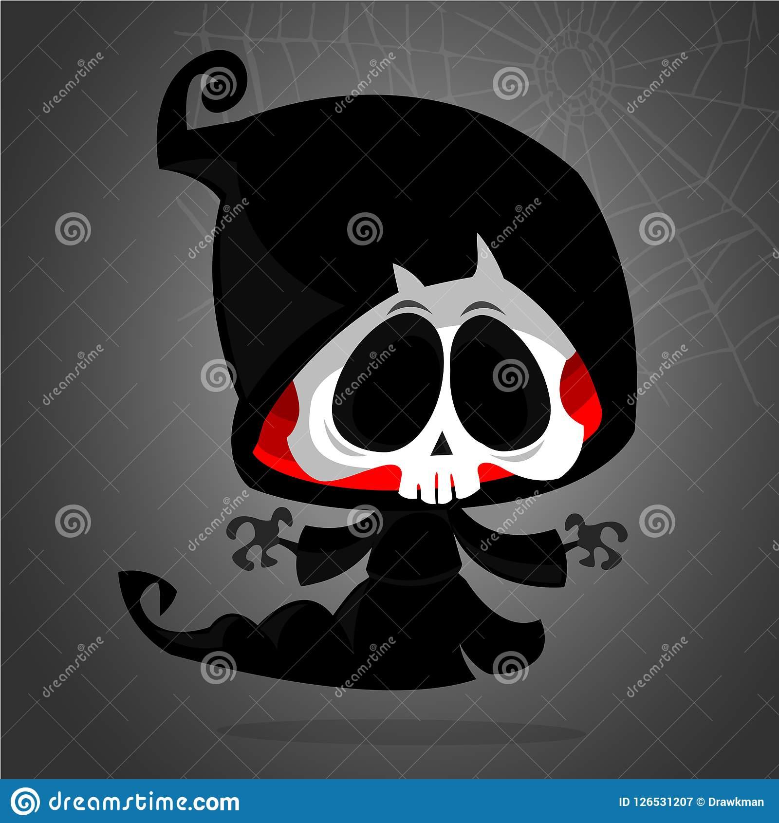 Cute Cartoon Grim Reaper Cartoon Clipart. Stock Vector.