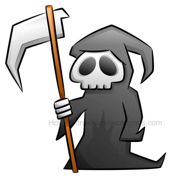 How to draw a grim reaper clipart.
