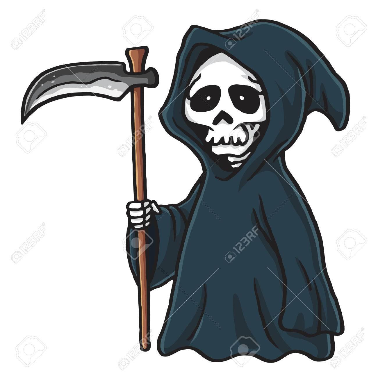 Grim Reaper Cute Cartoon Skeleton Halloween Vector Illustration...