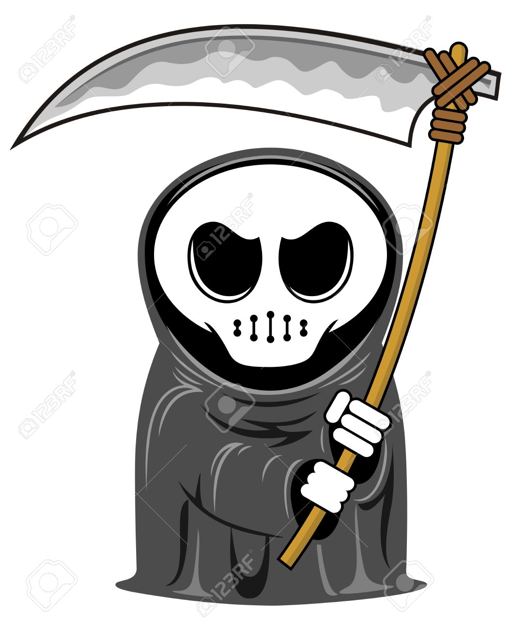 vector cartoon funny grim reaper with scythe.