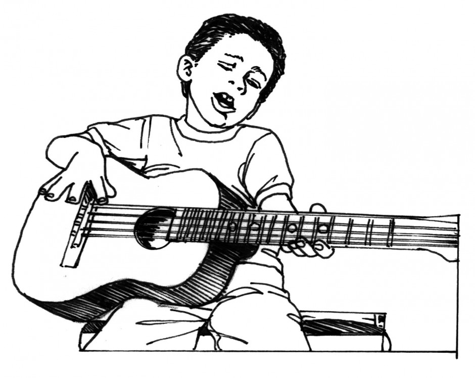 Showing post & media for Cartoon guitar player with mic.