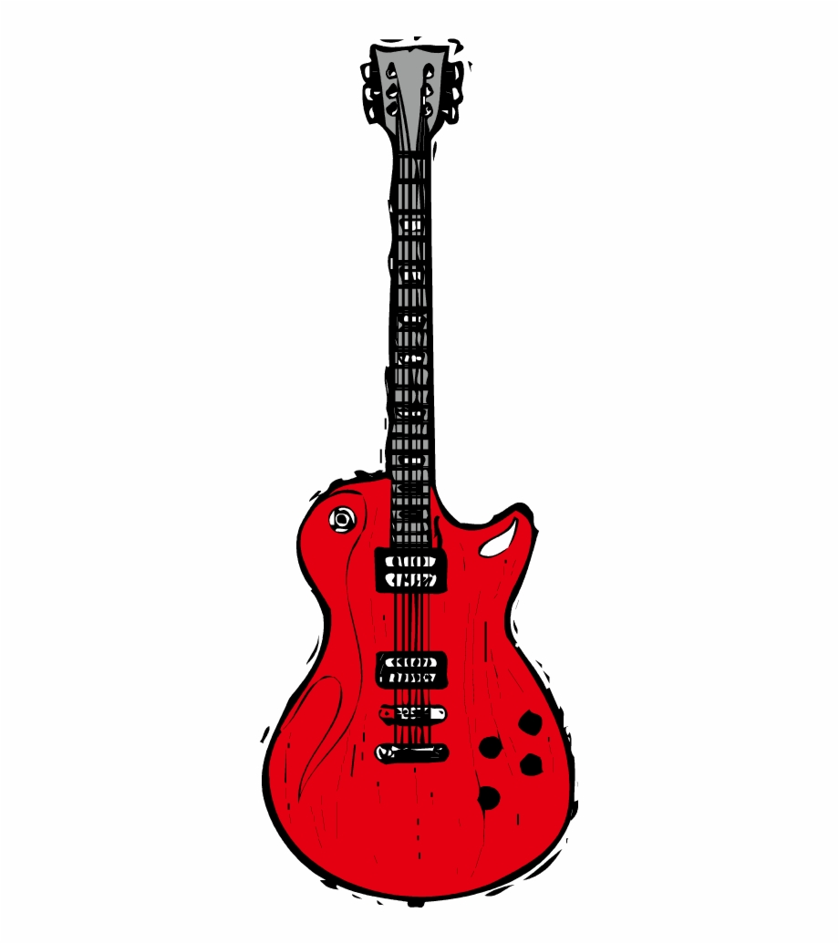 Red Electric Guitar Png Pic.
