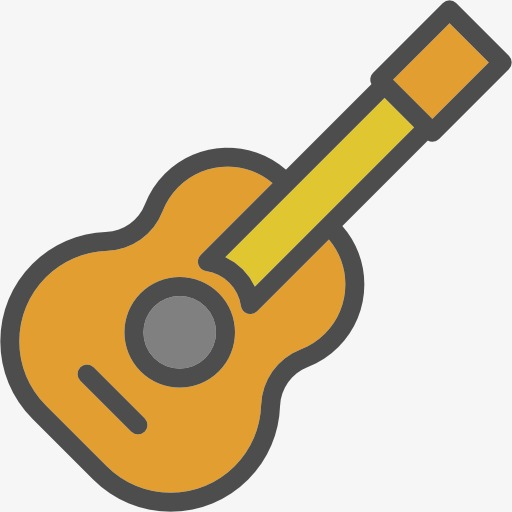 Cartoon Guitar, Cute Guitar, Hand Painte #77032.