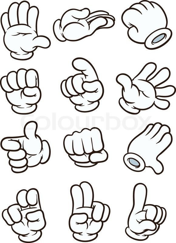 Cartoon gloved hands. Vector clip art.