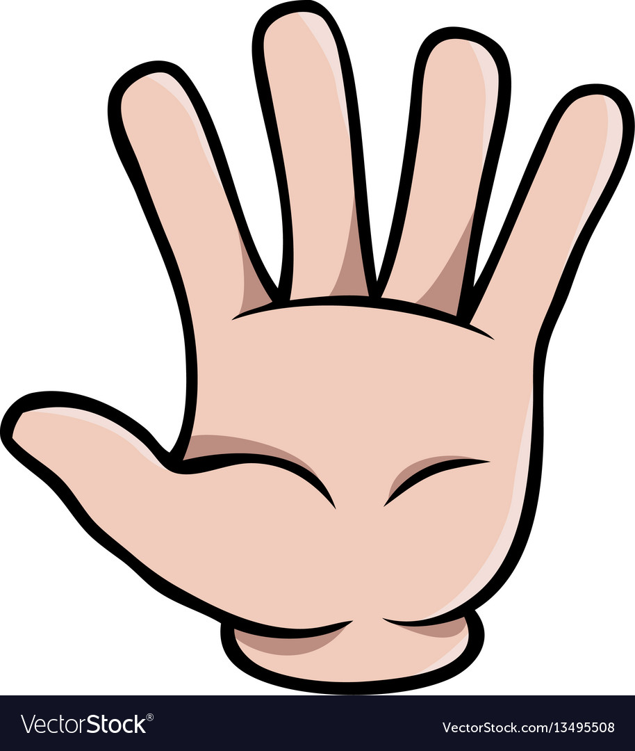 Human cartoon hand showing five fingers.