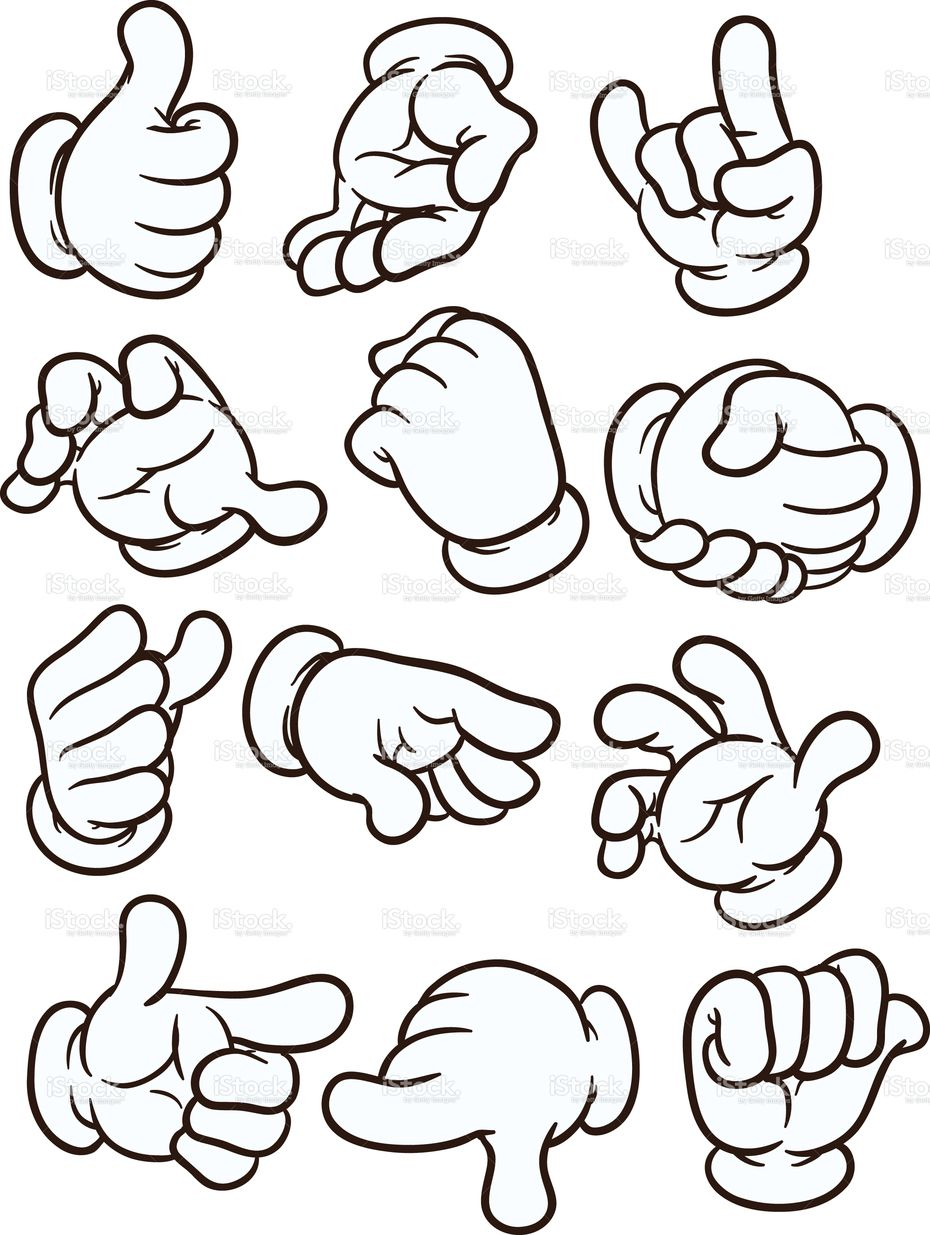 Cartoon hands making different gestures. Vector clip art.