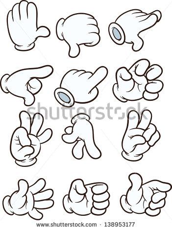 Cartoon gloved hands. Vector clip art illustration. Each on a.
