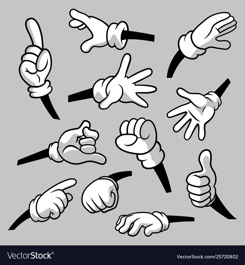 Cartoon hands with gloves icon set isolated.