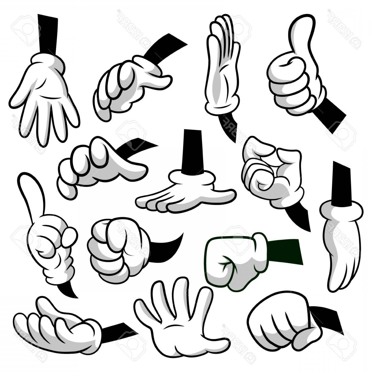 Photostock Vector Cartoon Hands With Gloves Icon Set Isolated On.